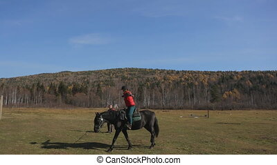 The woman is exercising in horse riding with the personal trainer. The female is sitting in the saddle.