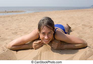 The woman on beach