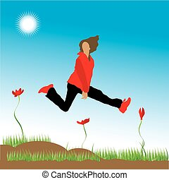 The woman runs on a flower meadow