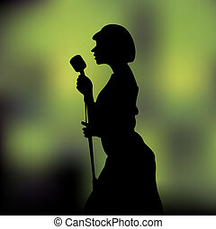 The woman sings - The woman with a microphone sings a song