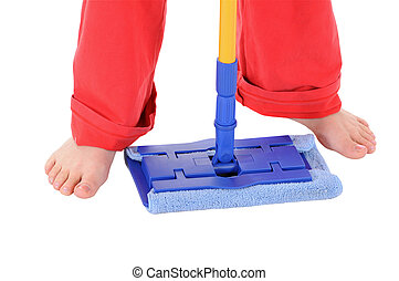 The woman with a mop