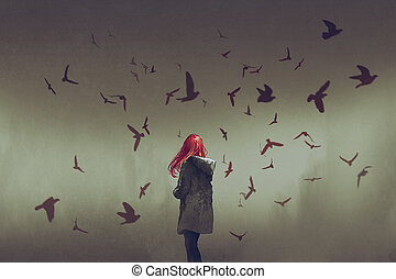 woman with red hair standing among birds - the woman with...