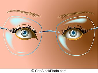 the woman's face with glasses
