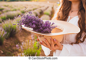 The wonderful bouquet of lavender for a beautiful lady