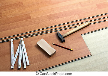 the wood flooring and tools