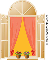 The Wood window with pansy