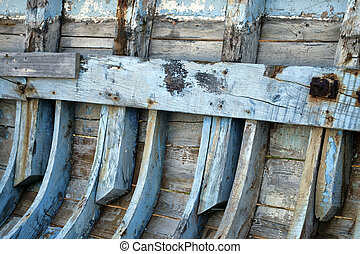The Wooden Body Details of Fishing Boat