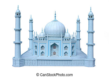 The wooden breadboard model of a historical monument of India Taj mahal