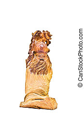 The wooden carving chinese god on white background
