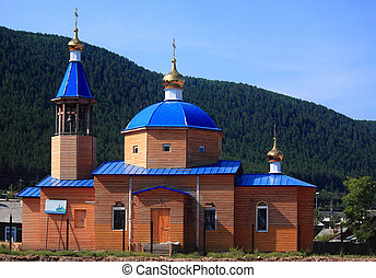 the wooden church in Nizhneangarsk, Russia