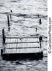 wooden destroyed bridge