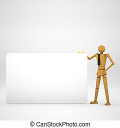 The wooden doll with board on white background 3d illustration