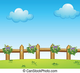 The wooden fence with plants