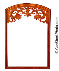 The Wooden frame and carving of line thai pattern style isolated on white background