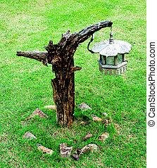 The Wooden lantern in garden
