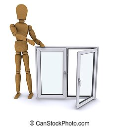 The wooden man standing next to a plastic window. 3D rendering