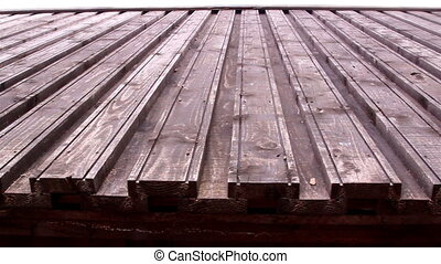 The wooden roof of an old castle - The wooden shingles roof...