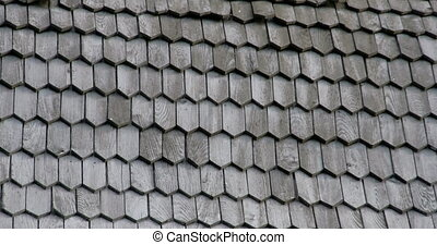 The wooden shingles from the wooden roof of a church