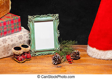 The wooden table with Christmas decorations