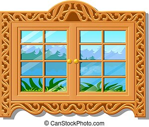 The wooden window overlooking of the forest in summer isolated on white background. Vector cartoon close-up illustration.