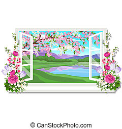 The wooden window overlooking the meadow of green grass and pond in spring isolated on white background. Interior design luxury country house. A lovely day. Vector close-up cartoon illustration.