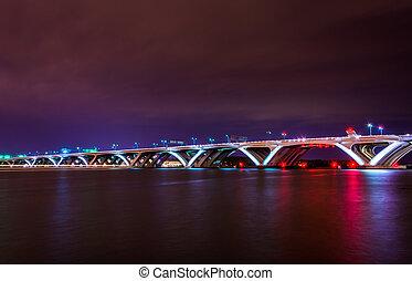 The Woodrow Wilson Bridge at night, seen from Alexandria, Virgin