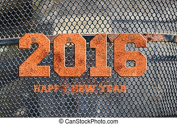 "The word ""2016"" written in rusty metal;"