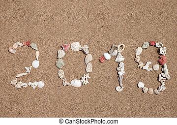 The word 2019 lmade from seashells on a sandy beach.