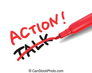 the word action with a red marker