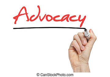 The word Advocacy handwritten with marker on whiteboard