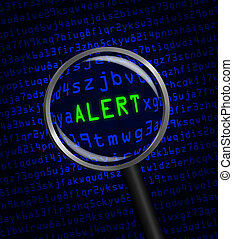 "The word ""ALERT"" in green revealed in blue computer machine code through a magnifying glass"