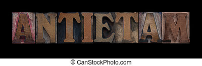 the word Antietam in old letterpress wood type