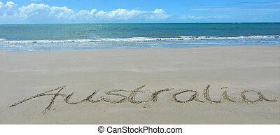 The word Australia written in sand