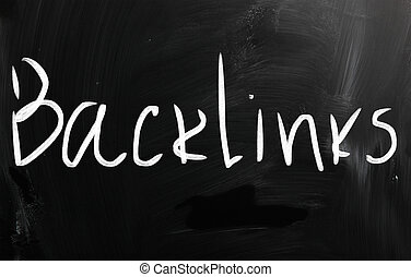 "The word ""Backlinks"" handwritten with white chalk on a blackboard"