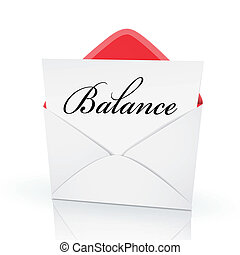 the word balance on a card in an envelope