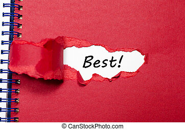 The word best appearing behind torn paper