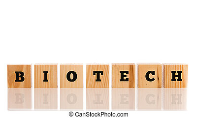 The word - Biotech - in alphabet letters on a row of wooden bloc