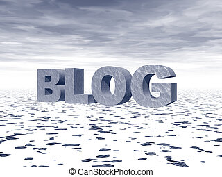 blog - the word blog in big 3d letters in a snow landscape