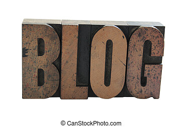 the word \'blog\' in old wood letters