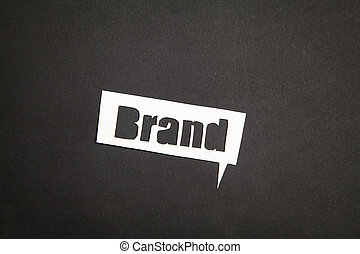 The word Brand in speech bubble