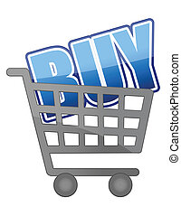 The word Buy in a shopping cart