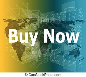 The word buy now on digital screen, business concept vector illustration