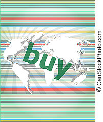The word buy on digital screen, business concept of citation, info, testimonials, notice, textbox