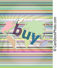 The word buy on digital screen, business concept vector illustration