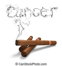 The word cancer rising in black smoke from a smoking cigar
