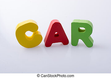 the word CAR written with colorful letter