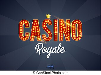 The word Casino, on a retro background. The new, best design of the luck banner, for gambling, casino, poker, slot, roulette or bone.