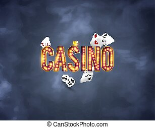 The word Casino Royale, on a retro background. The new, best design of the luck banner, for gambling, casino, poker, slot, roulette or bone.