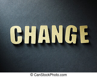 The word Change on paper background