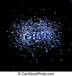 chaos - the word chaos in an explosion - 3d illustration